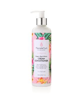 Flora & Curl Organic Rose & Honey Cream Conditioner curly girl godkendt produkt forhandles ved ww.curlsforyou.dk din curly girl shop