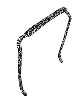 Zazzy Bandz er den patenteret hårbøjle der ikke giver hovedpine her i farven Swirels Silver and Black i slim modellen