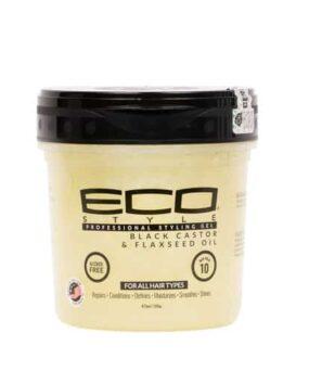 EcoStyler - Styling Gel Black Castor & Flaxseed Oil styling gel hjælper med at pleje og reparere beskadiget hår og samtidig fremme en sund hovedbund.